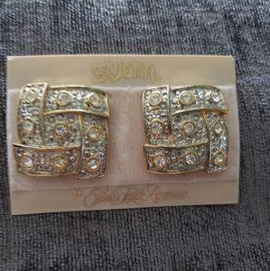 St. John 2 Tone Crystal Earrings Saks Fifth Ave